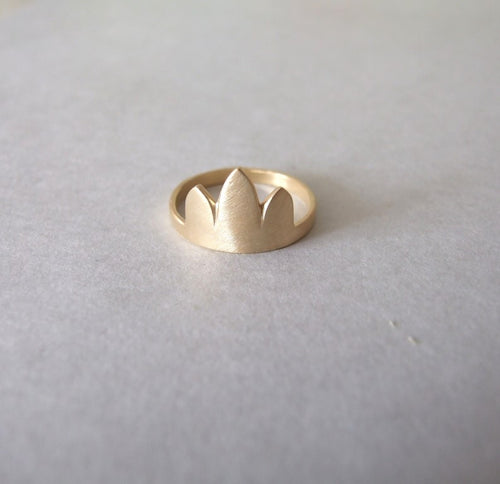 14k Gold Minimalist Gold Crown Ring