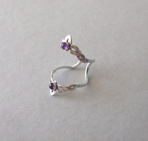 Silver Double Knuckle Ring with Gemstone