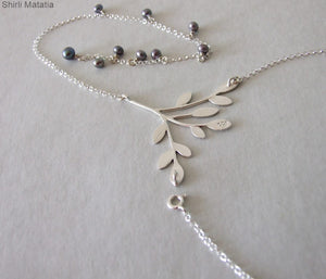 Silver Tree BackDrop Necklace with Pearls