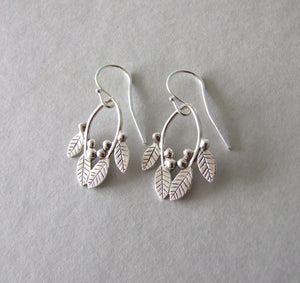 Silver Leaves and Berries Dangle Earrings