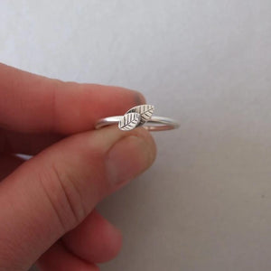 Delicate Silver Leaf Stacking Ring