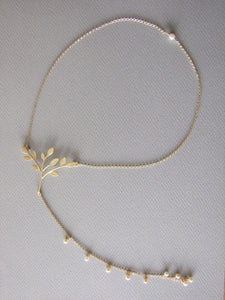 Gold Plated Silver Backdrop Necklace with Pearls