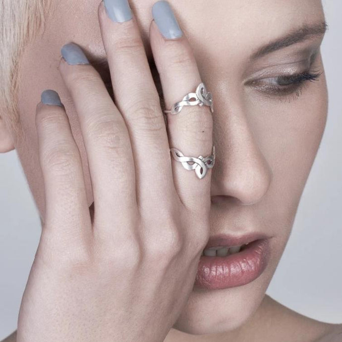 Silver Celtic Double Knuckle Ring