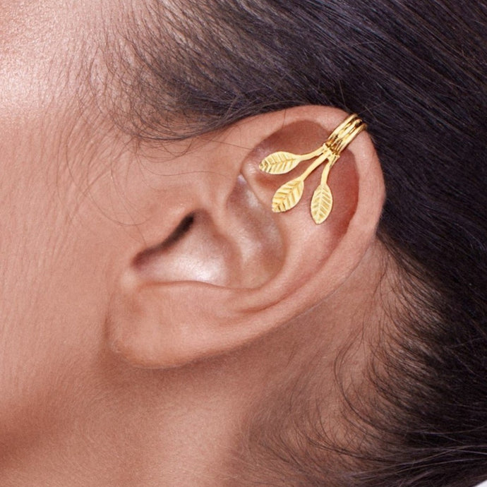 14k Gold Three Leaves and Branches Ear Cuff