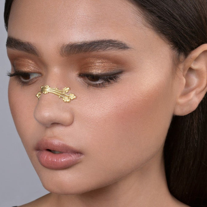 14k Gold Boho Chic Berries and Branches Nose Cuff