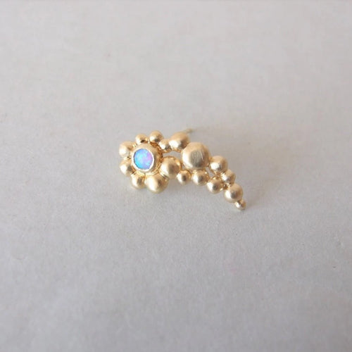 Gold Plated Silver Bubbles Helix Earring with Personalized Gemstone