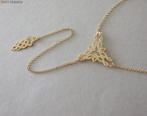 Gold Plated Silver Celtic Backdrop Necklace