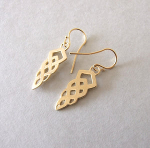 Gold Plated Silver Celtic Dangle Earrings