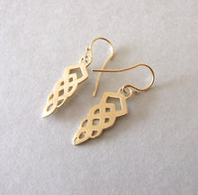 Celtic Gold Plated Silver Dangle Earrings