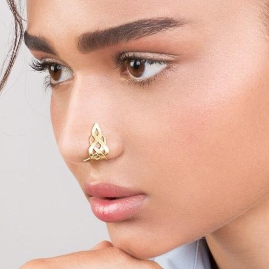 14k Gold Celtic Flame Faux Nose Ring