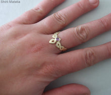 14k Gold Celtic V Ring with Personalized Gemstone