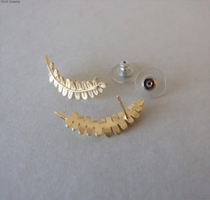 14k Gold Fern Leaves Climbing Earrings