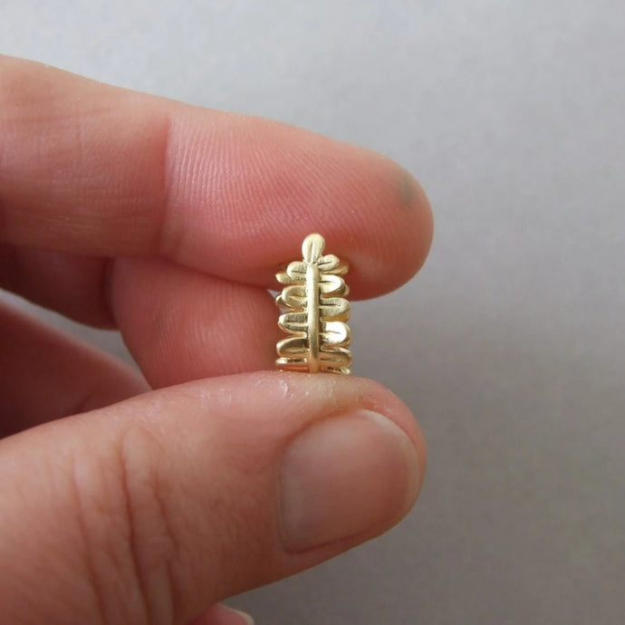 14K Gold Fern Leaves Faux Nose Ring