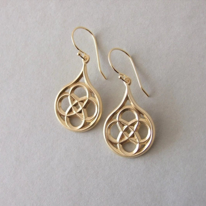 Gold Plated Silver Gothic Dangle Earrings