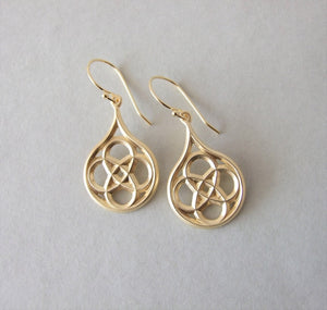 Gold Plated Silver Gothic Tear Dangle Earrings