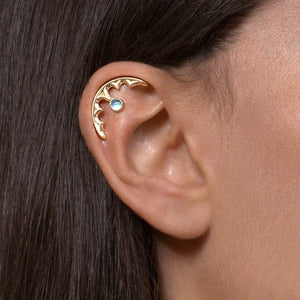 14k Gold Gothic Helix Piercing with Personalized Gemstone