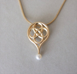 Gold Plated Silver Gothic Necklace with Pearl