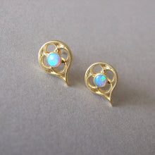 14k Gold Gothic Tears Stud Earring with Personalized Gemstones