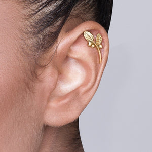 14k Gold Leaves and Berries Cartilage Earring