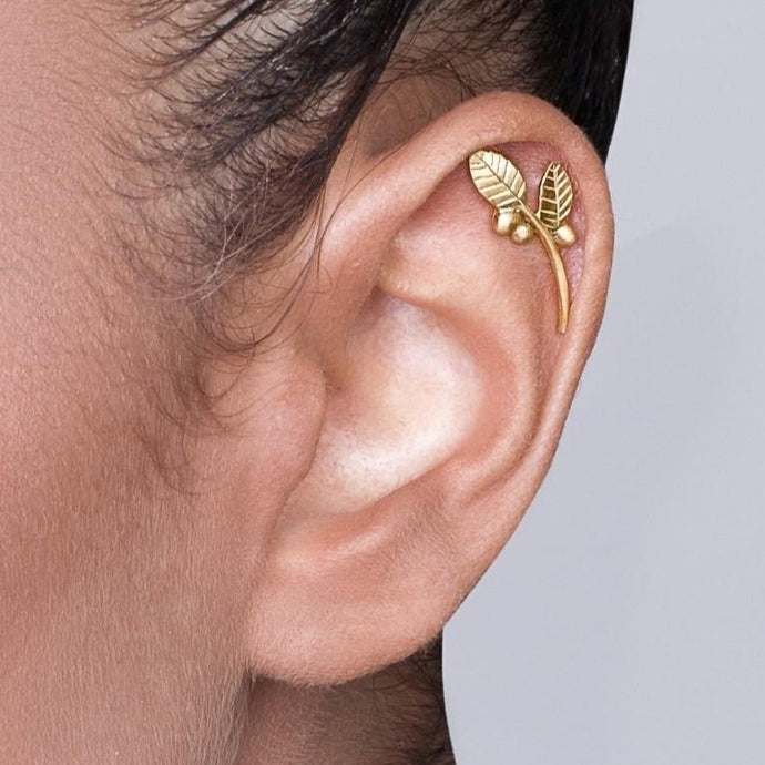 Gold Plated Silver Leaves and Berries Cartilage Earring