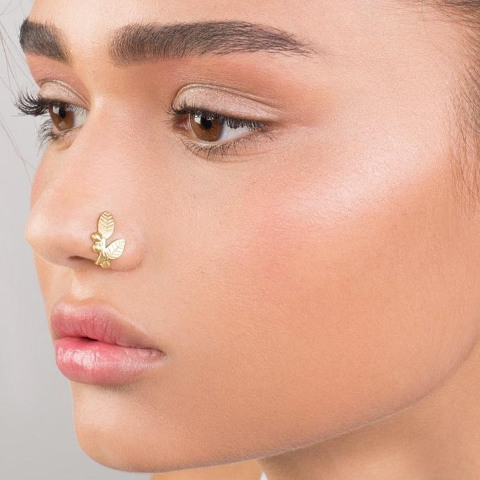 14k Gold Leaves and Berries Faux Nose Ring - no piercing