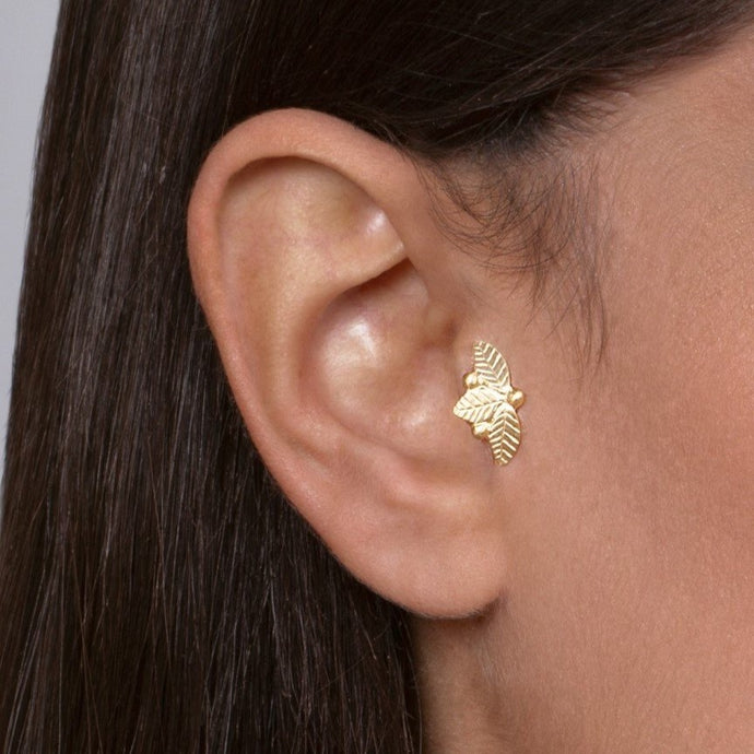 14K Gold Woodland Tragus Earring