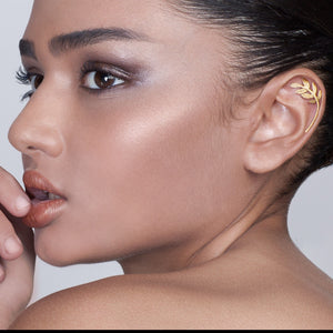 Gold Plated Silver Leaves Helix Earring