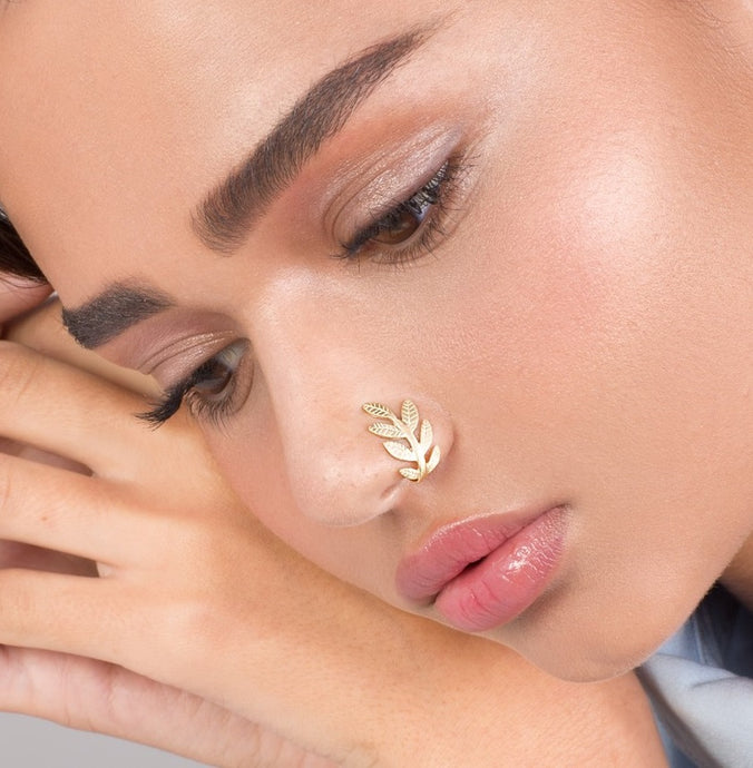 14k Gold Leaves Nose Cuff - No Piercing