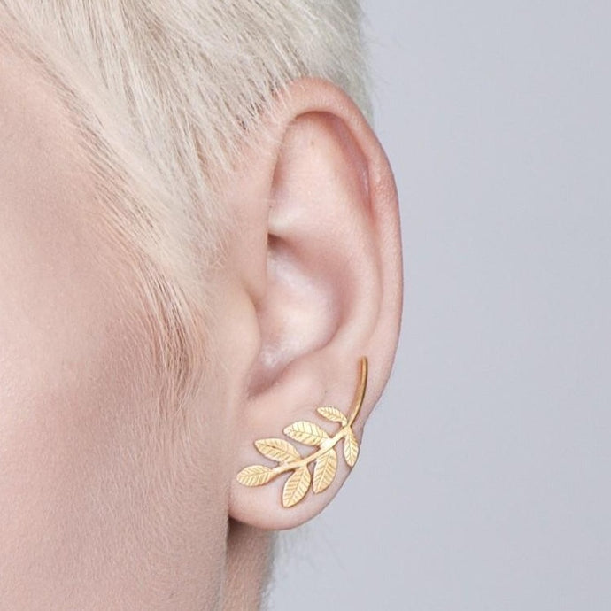 14k Gold Leaves Climbing Earrings