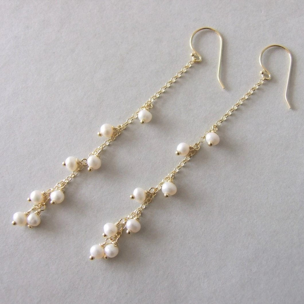 Long Chain Gold Plated Silver Pearl Earrings