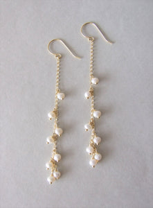 Long Gold Plated Silver Pearl Wedding Earrings