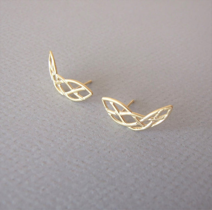 14k Gold Celtic Climbing Earrings