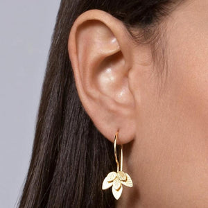 Gold Plated Silver Dangle Six Leaves Earrings