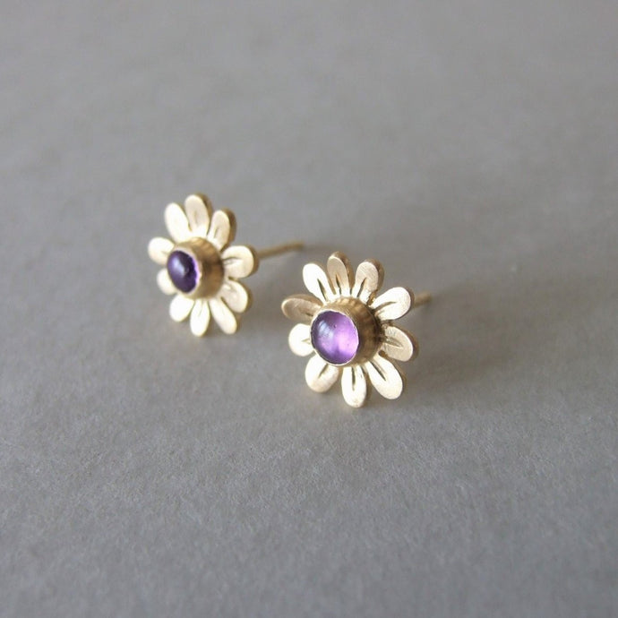 14k Gold Small Flower Stud Earring with Personalized Gemstones