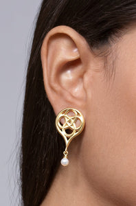 Gold Plated Silver Gothic Earrings with Pearls