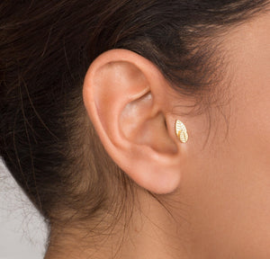 14K Gold Two leaves Tragus Piercing