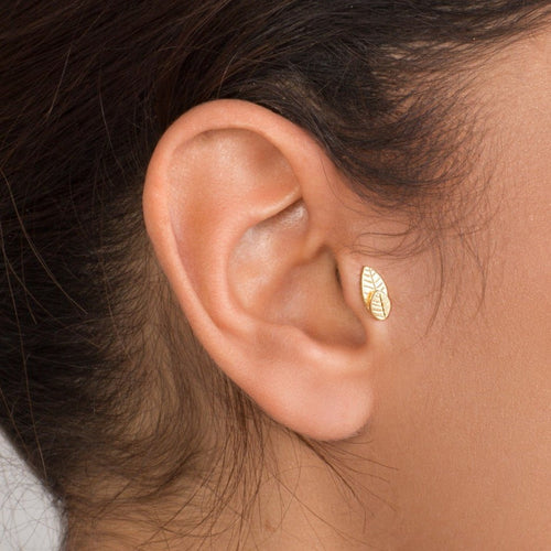 14K Gold Two leaves Tragus Earring
