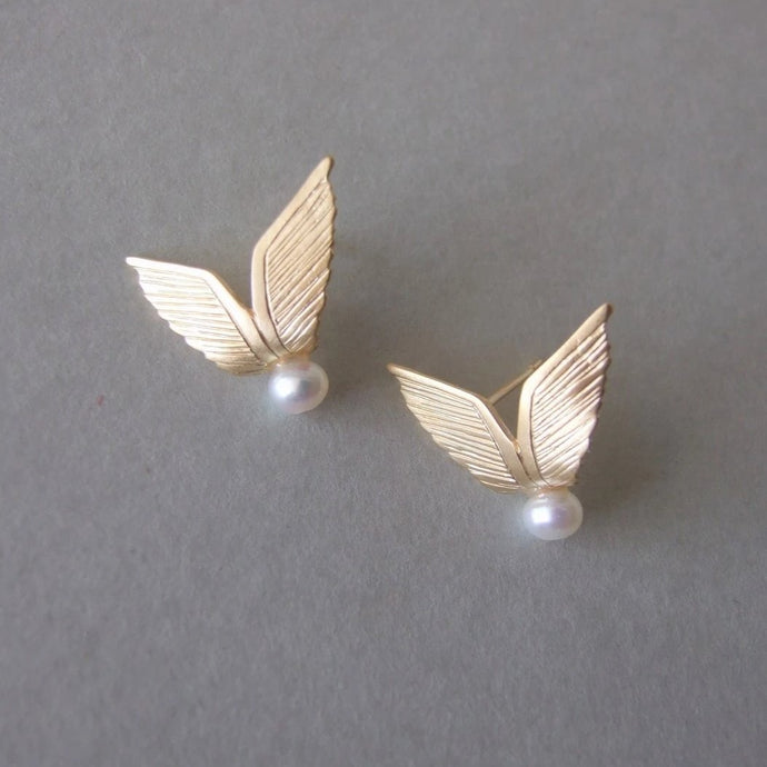 Gold Plated Silver Wings Stud Earrings with Pearls