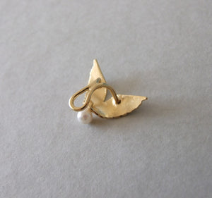 Gold Plated Silver Angle Wings Ear Cuff with Pearl