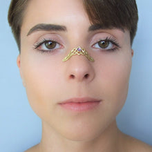 Gold Plated Silver Celtic Knot Nose Cuff with Gemstone
