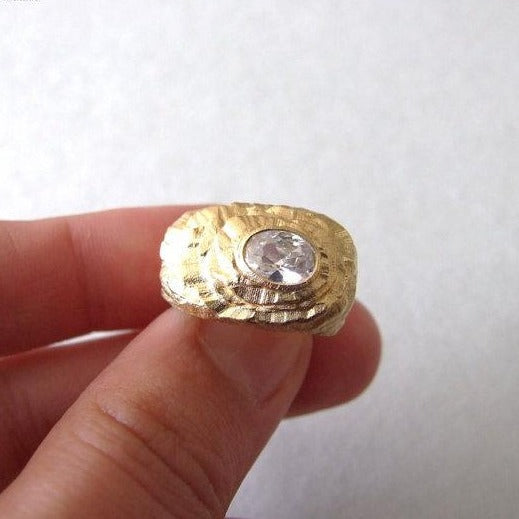 14k Gold Rustic Ring with Cubic Zirconia