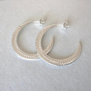 Statement Hoop Earrings - silver earrings , hoop earrings , feather earrings , statement earrings , gift for her