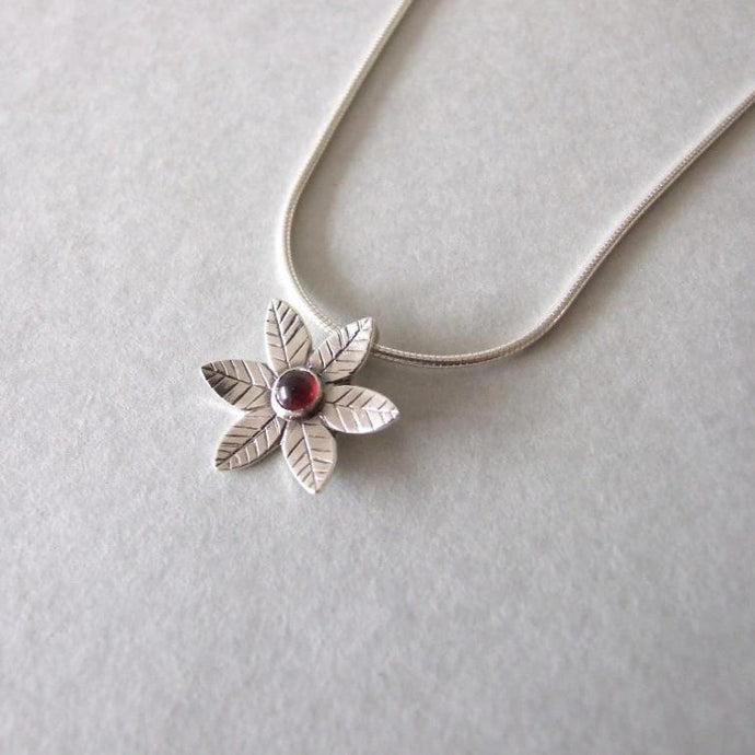 Silver Flower Necklace - flower necklace , silver necklace , gift for her , garnet necklace , woodland necklace , January birthstone