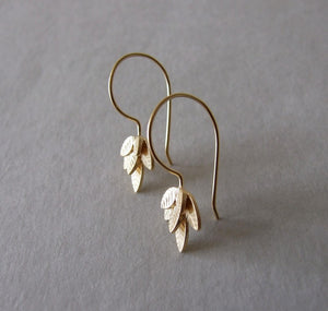 Gold Dangle Leaves Earrings - leaves earrings , gold dangle earrings , gift for her , gold earrings , woodland earrings