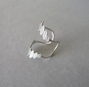 Silver Double Leaf Knuckle Ring