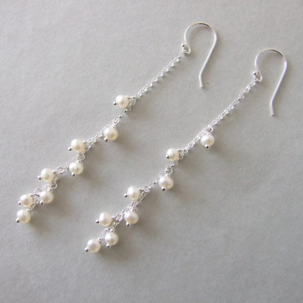 Long Dangle Chain Silver Pearl Earrings
