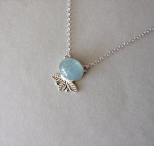 Delicate Silver Leaves and Berries Necklace with Aquamarine