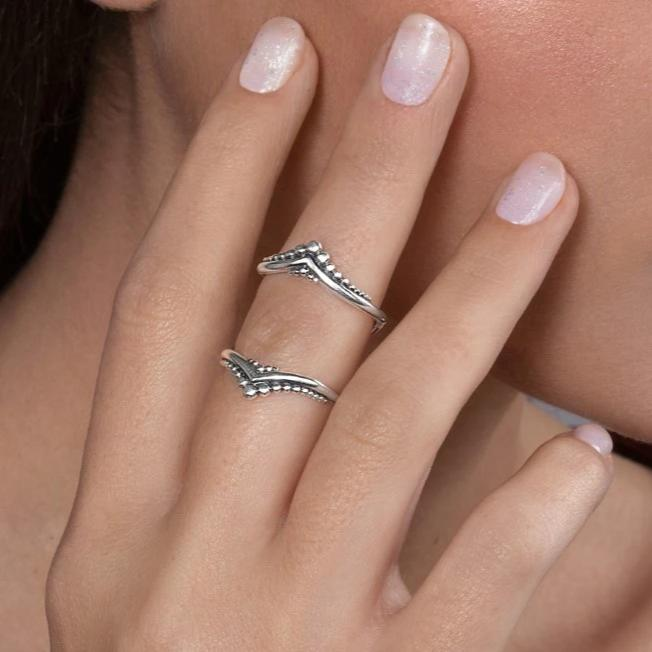 Silver Dots Double Knuckle Ring
