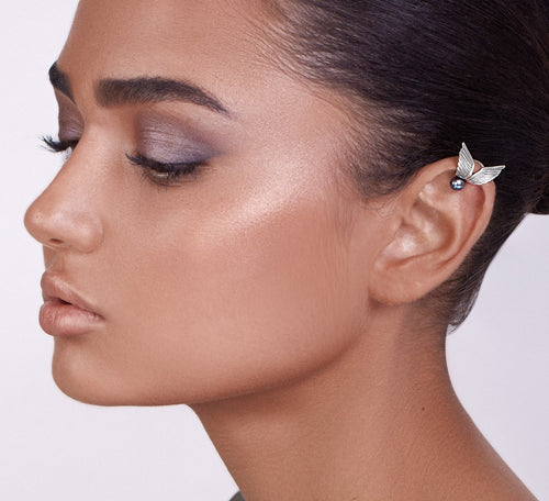 Silver Wings Ear Cuff with Pearl