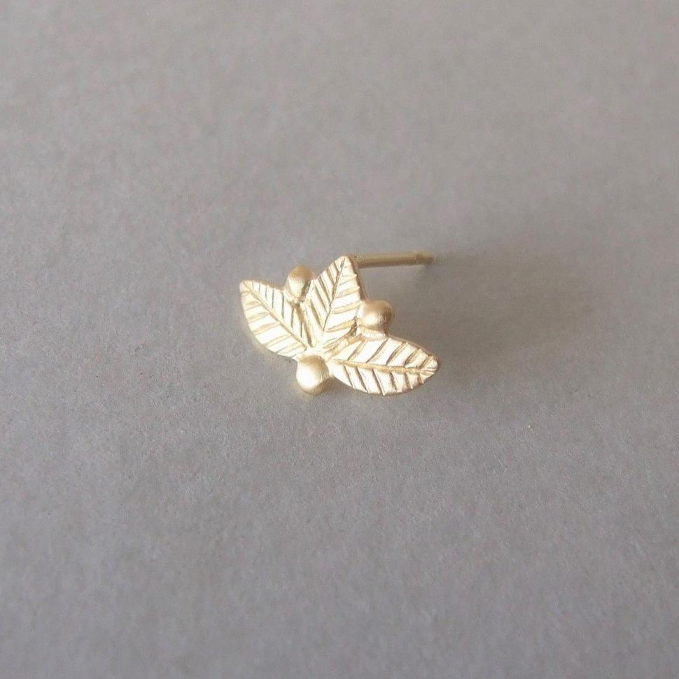 14k Gold Leaves and Berries Cartilage Piercing